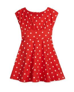 fiorella sateen polka-dot dress, red, size 7-14