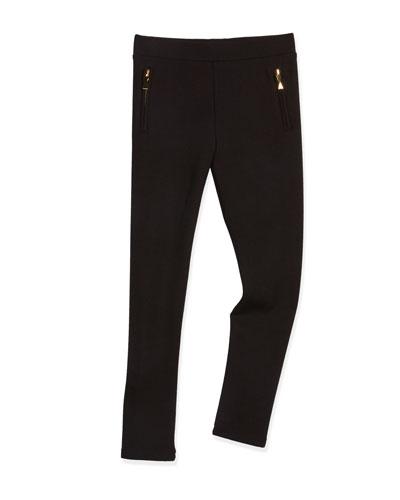 zip-trim leggings, black, size 7-14
