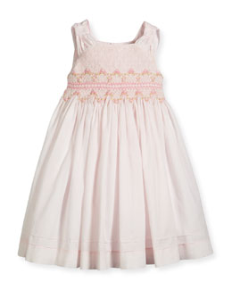 Sleeveless Smocked Floral-Trim Dress, Pink, Size 3-6