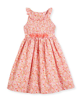 Sleeveless Pintucked Floral Dress, Coral, Size 4-6