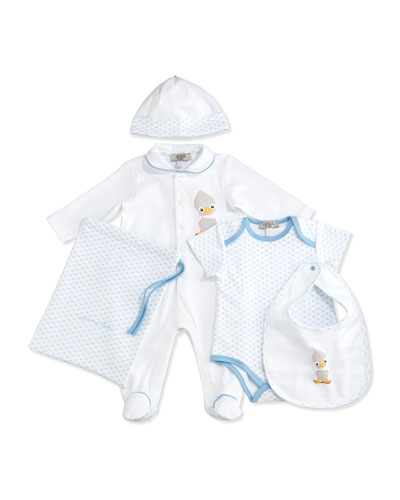Cotton Footie Layette Set, Blue, Size 3-9 Months