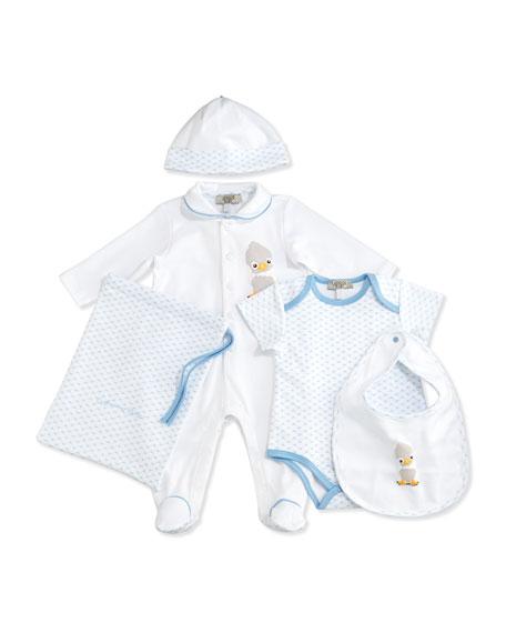 Armani Junior Cotton Footie Layette Set, Blue, Size
