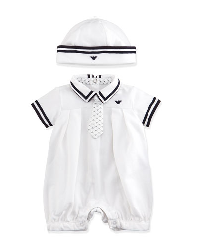 Pleated Bubble Playsuit & Hat Set, White, Size 3-9 Months