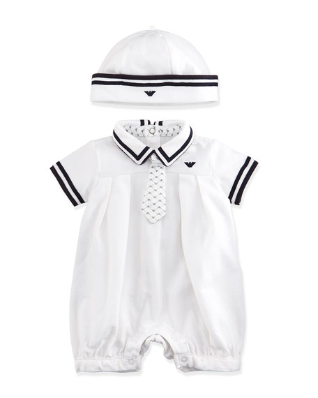 Armani Junior Pleated Bubble Playsuit & Hat Set,