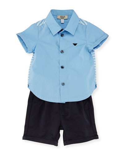 Short-Sleeve Poplin Shirt w/ Twill Shorts, Stucco, Size 6-24 Months
