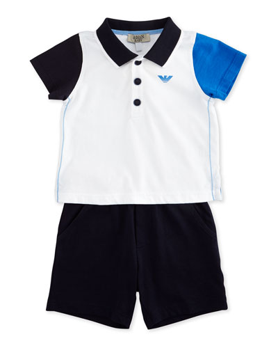 Short-Sleeve Colorblock Polo Shirt & Shorts Set, Light Almo, Size 6-24 Months