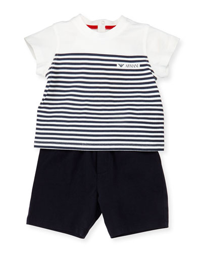 Striped Jersey Tee w/ Solid Shorts, White/Navy, Size 6-24 Months