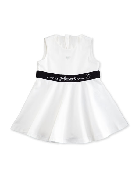 Armani Junior Sleeveless Belted A-Line Jersey Dress, White,