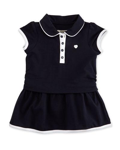Cap-Sleeve Tipped Jersey Dress, Navy, Size 12-24 Months