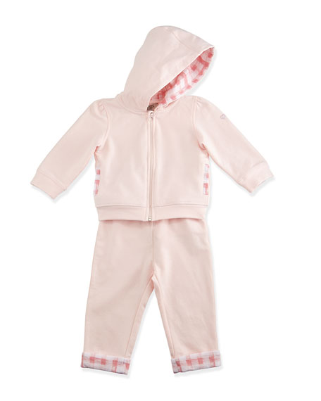 Armani Junior Plaid-Trim Hooded Track Jacket w/ Pants,