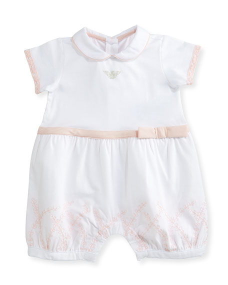 Armani Junior Collared Lace-Trim Bubble Playsuit, Pink/White,