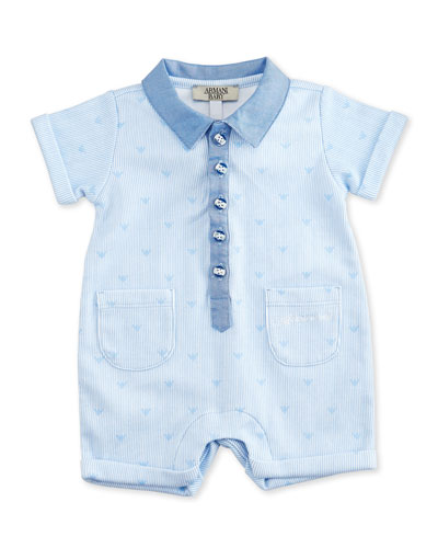 Striped Cotton Shortall, Blue/White, Size 3-12 Months