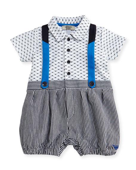 Armani Junior Logo-Print Striped Faux-Suspender Playsuit,