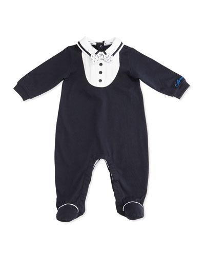Jersey Tuxedo Footie Pajamas, Indigo, Size 3-9 Months
