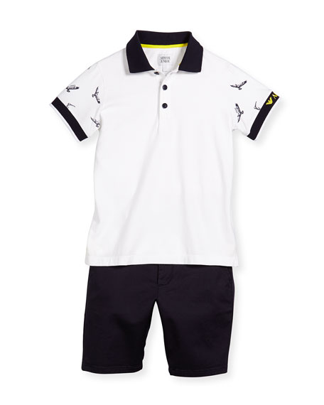 Armani Junior Short-Sleeve Polo Shirt & Twill Shorts