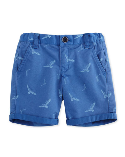 Printed Cotton-Blend Twill Shorts, Blue, Size 2-8