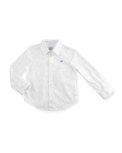 Stretch Button-Front Poplin Shirt, White Wash, Size 2-8