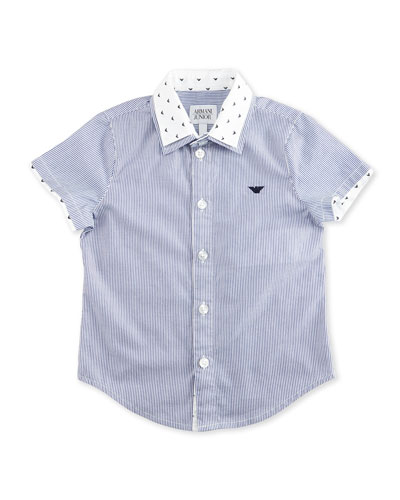 Short-Sleeve Striped Poplin Shirt, Ash, Size 2-8