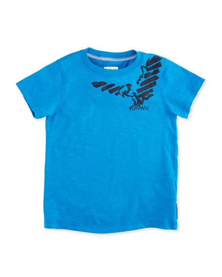 Armani Junior Cotton Jersey Logo Tee, Cyan, Size