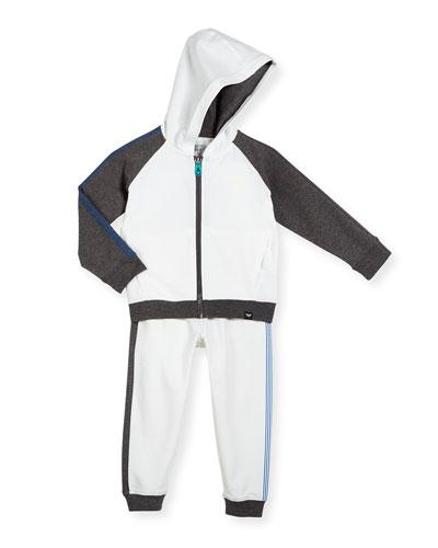 Striped-Trim Hooded Jacket & Pants Set, Navy/White, Size 2-8