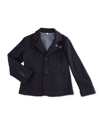 Jersey-Knit Tailored Blazer, Indigo, Size 2-8