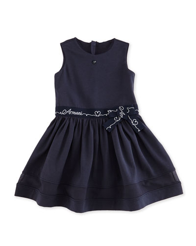 Sleeveless Belted Jersey-Knit A-Line Dress, Indigo, Size 2-8