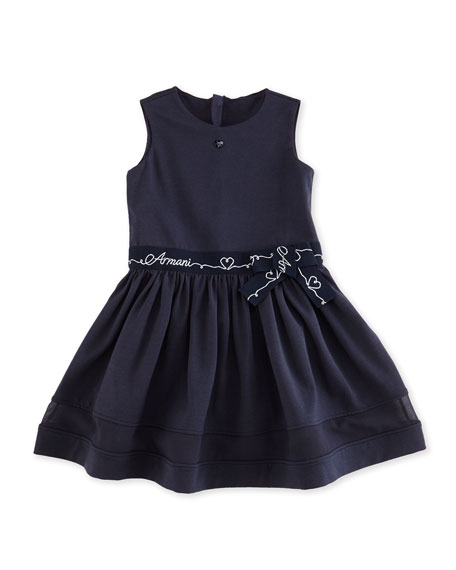 Sleeveless Belted Jersey-Knit A-Line Dress, Indigo, Size 2-8