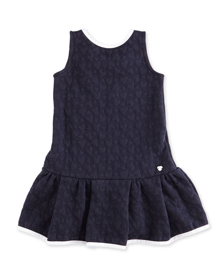 Armani Junior Sleeveless Heart-Jacquard Stretch Dress, Indigo,