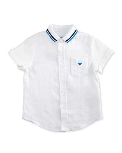 Short-Sleeve Combo Button-Front Polo Shirt, White Wash, Size 10-14