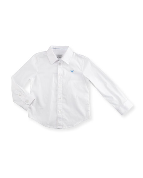 Armani Junior Stretch Button-Front Poplin Shirt, White Wash,