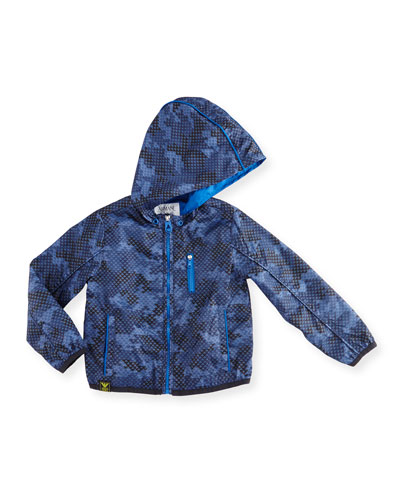 Hooded Micro-Logo Camo Jacket, Blue, Size 10-14