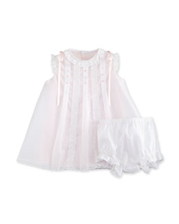 Sleeveless Embroidered Mesh Shift Dress w/ Bloomers, White/Pink, Size 6M-4