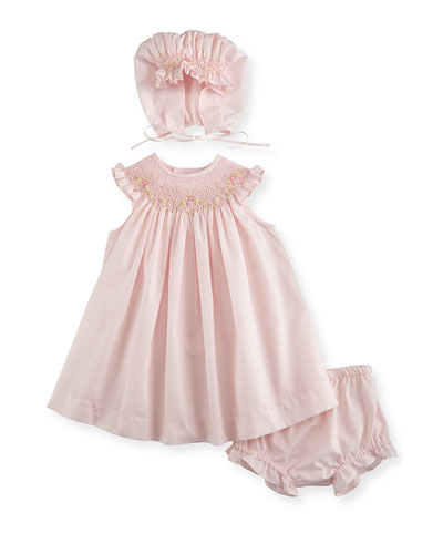 Sleeveless Embroidered Bishop Dress, Bonnet & Bloomers, Pink, Size 3-9 Months