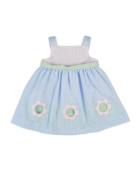 Florence Eiseman Sleeveless Striped Floral-Trim Seersucker Dress, ...