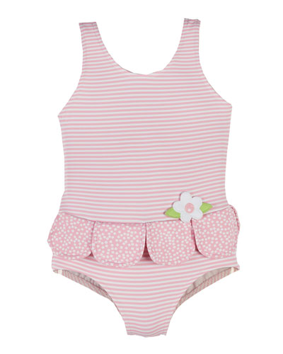 Striped Petal One-Piece Swimsuit, White/Pink, Size 2-4