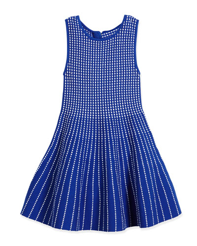 Dot-Striped Knit Fit-and-Flare Dress, Blue, Size 4-7