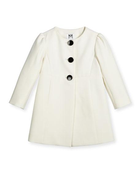 Milly Minis Italian Cady Three-Button Coat, White, Size
