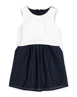 Ari Mesh Gingham Shift Dress, Blue/White, Size 8-14