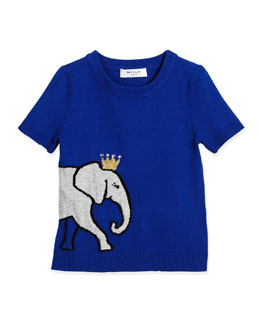 Short-Sleeve Elephant Pullover Sweater, Blue, Size 8-14