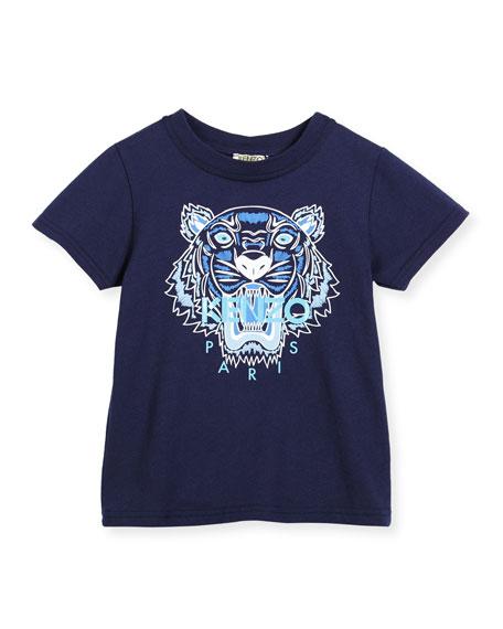 Kenzo Short-Sleeve Tiger Jersey Tee, Blue, Size 6-12