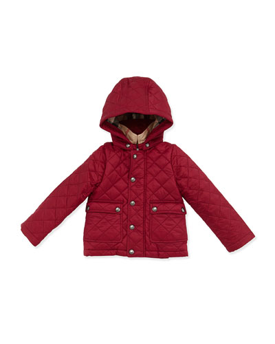 Jamie Quilted Hooded Jacket, Pink, Size 6M-3T