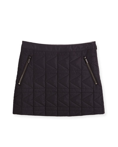 Quilted Zip-Trim Mini Skirt, Black, Size 4-5