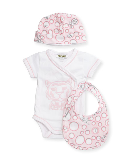 Kenzo Short-Sleeve Surplice Playsuit, Baby Hat & Bib