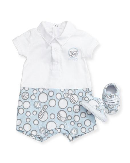 Kenzo Short-Sleeve Printed Playsuit & Shoes, Light Blue,