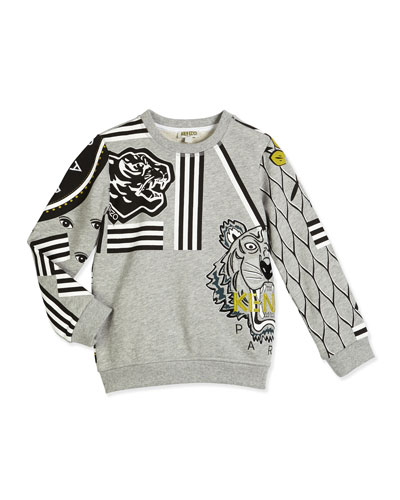 Printed Terry-Lined Cotton Logo Sweatshirt, Gray, Size 6-12