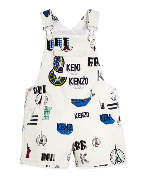 Kenzo Mixed-Print Stretch Denim Overalls, White, Size 6-12