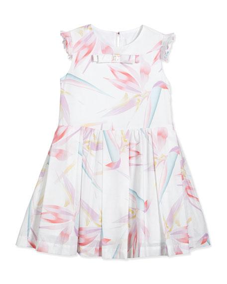 Fendi Sleeveless Birds of Paradise Pleated Dress, White/Multicolor, Size 2-5