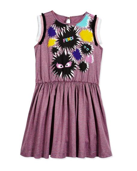 Fendi Sleeveless Striped Monster A-Line Dress, Pink/Gray, Size 6-9