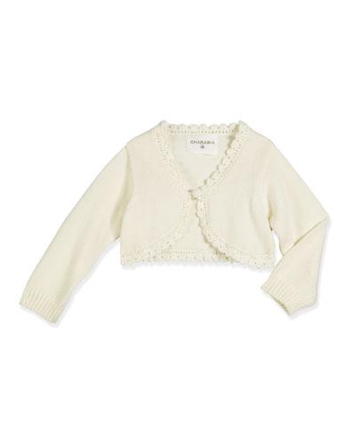 Scallop-Trim Cotton Bolero Cardigan, Off White, Size 2-6