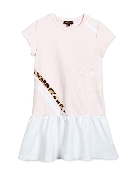 Roberto Cavalli Cap-Sleeve Dropped-Waist Jersey Dress, Light Pink, Size XS-L